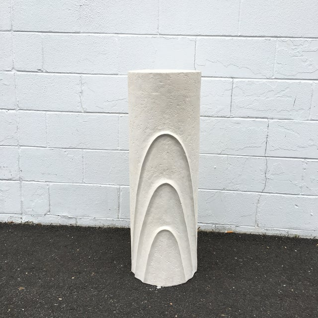 1980s Concentric Oval Sculptural Plaster Pedestal For Sale - Image 5 of 8