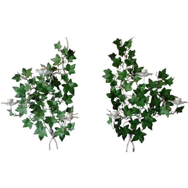 Italian Ivy Tole Candle Sconces - A Pair - Image 1 of 7