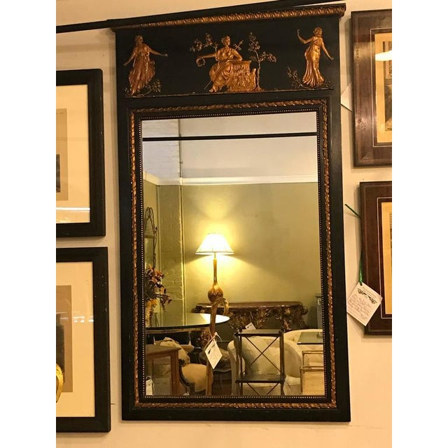 Gold French Ebonized Neoclassical Style Wall or Console Mirror For Sale - Image 8 of 11