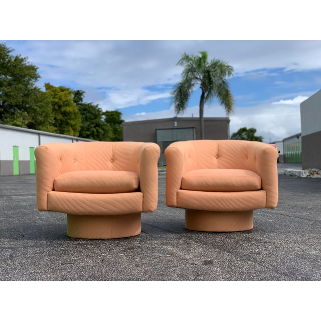 Mid-Century Modern 1970s Milo Baughman Style Tufted Swivel Lounge Chairs - a Pair For Sale - Image 3 of 13