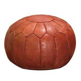 Retro Pouf by Mpw Plaza, Brown (Stuffed), Moroccan Leather Pouf Ottoman For Sale