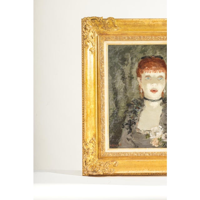Signed Dietz Edzard oil on canvas of girl Listed Artist giltwood carved frame.