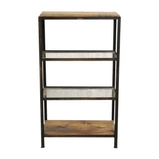 Wooden Wire Glass 4-Shelf Unit with a Steel Frame For Sale