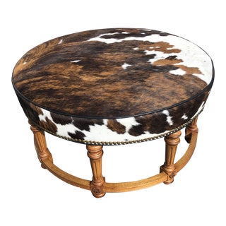 Handcock & More Cow Hide Leather Ottoman For Sale
