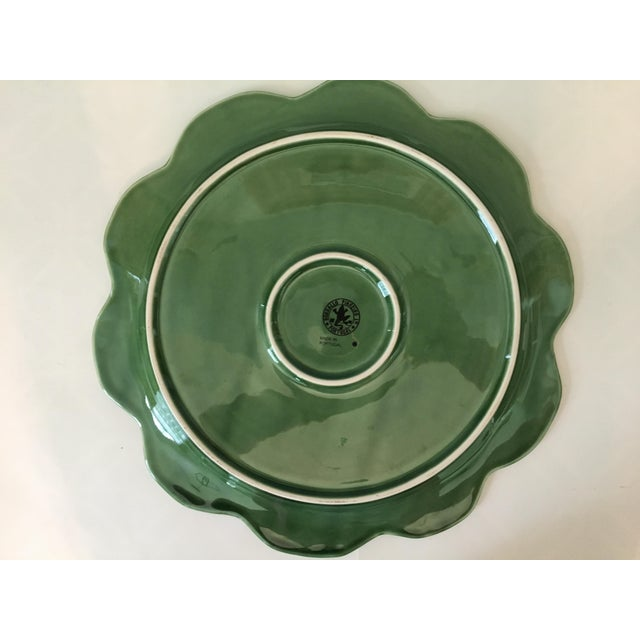Green Large - Majolica Cabbage Leaf Food Dome & Platter-Made in Portugal For Sale - Image 8 of 13