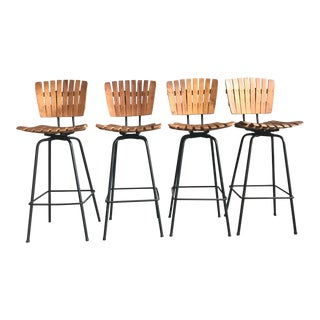 1960s Mid-Century Modern Swiveling Bar Stools - Set of 4