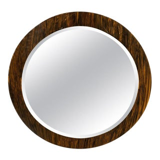 Art Deco Revival Macassar Grain Beveled Circular Mirror For Sale