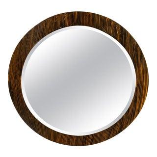 Art Deco Revival Macassar Grain Beveled Circular Mirror For Sale