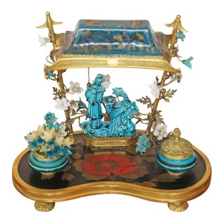 French Chinoiserie Turquoise-Blue Porcelain Encrier Table Lamp For Sale