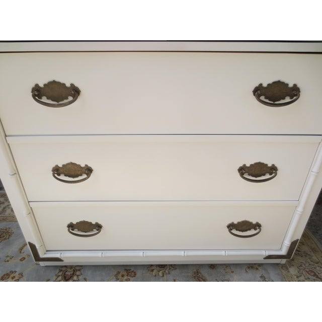 White 1960s Chippendale Thomasville Huntley Faux Bamboo Tall Chest With Brass Accents For Sale - Image 8 of 12