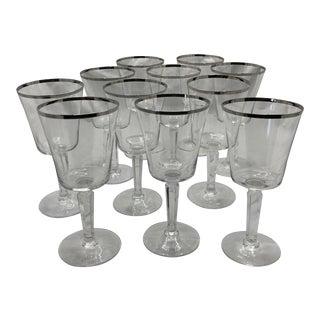 Vintage Lenox Solitare Crystal Hexagon Stem Platinum Rim Water Goblet - Set of 11 For Sale