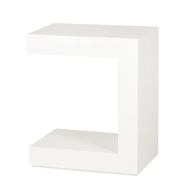 White Lacquer C Shape Side Table For Sale