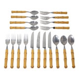 """Image of Vintage """"Bamboo"""" Flatware by Cambridge Silver - Set of 19 For Sale"""