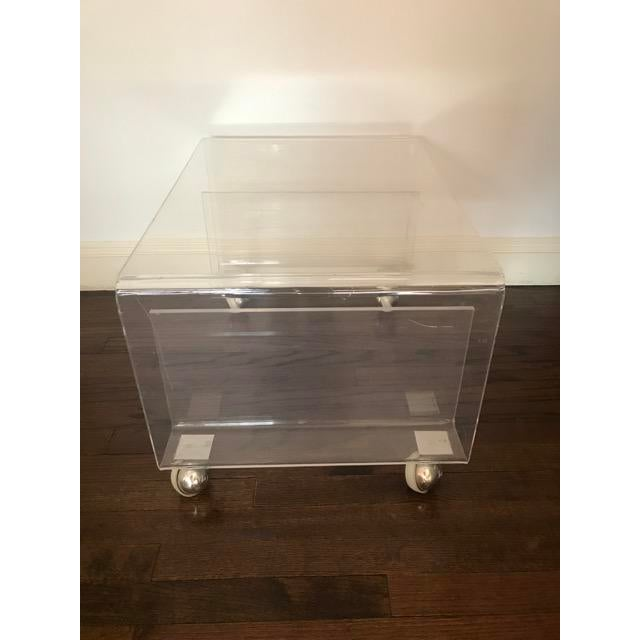Boho Chic Lucite Side / Coffee Table With Magazine Rack on Wheels For Sale - Image 3 of 9