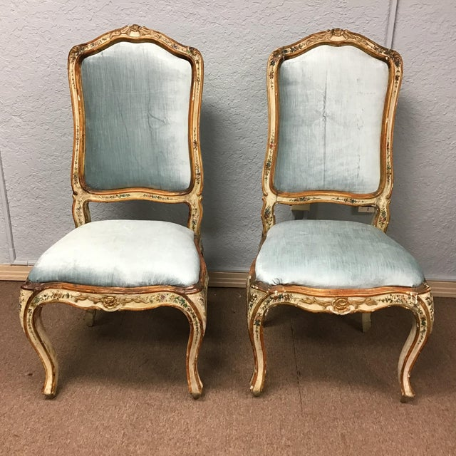 Venetian Painted Chairs - a Pair For Sale - Image 9 of 11