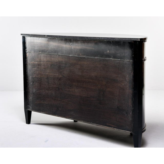 Metal 1900s Antique Bowfront Ebonised Mahogany French Chest For Sale - Image 7 of 13