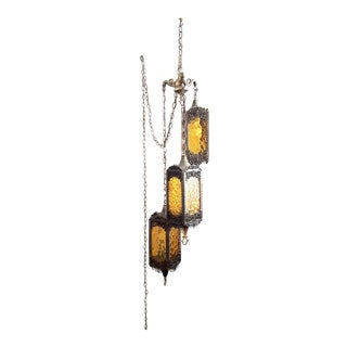 Vintage 3 Tier Hanging Gothic / Moroccan Amber Swag Lamp