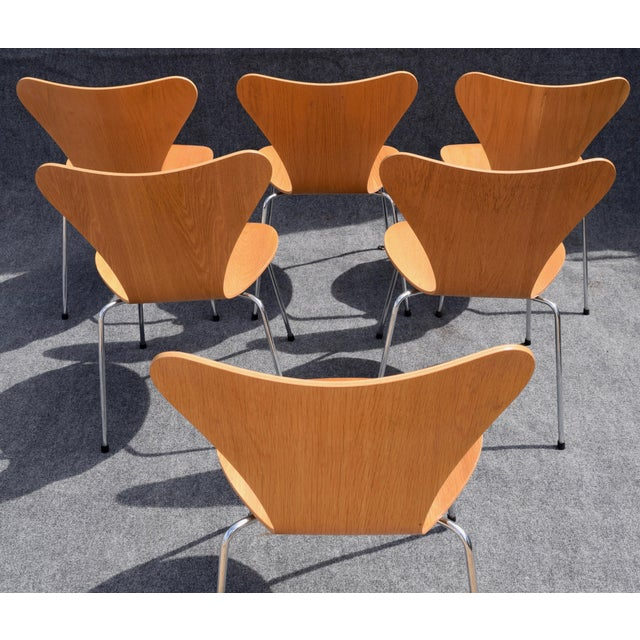 Tan Vintage Arne Jacobsen by Fritz Hansen Danish Modern Series 7 Chairs - Set of 6. For Sale - Image 8 of 11
