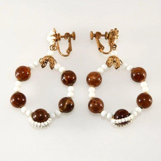 Miriam Haskell White Dangle Hoop Earrings With Brown Beads Vintage Preview