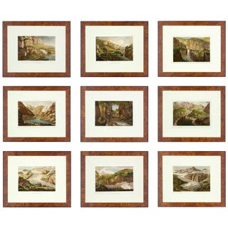 19th Century Travels Through the Lepontine Alps Antique Prints - Set of 9 For Sale