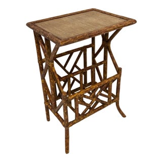 Burnt Bamboo Side Table W/ Magazine Rack For Sale