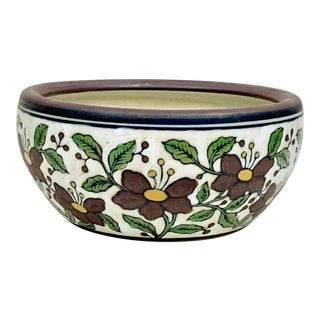 Vintage Hand-Painted Floral Cachepot For Sale