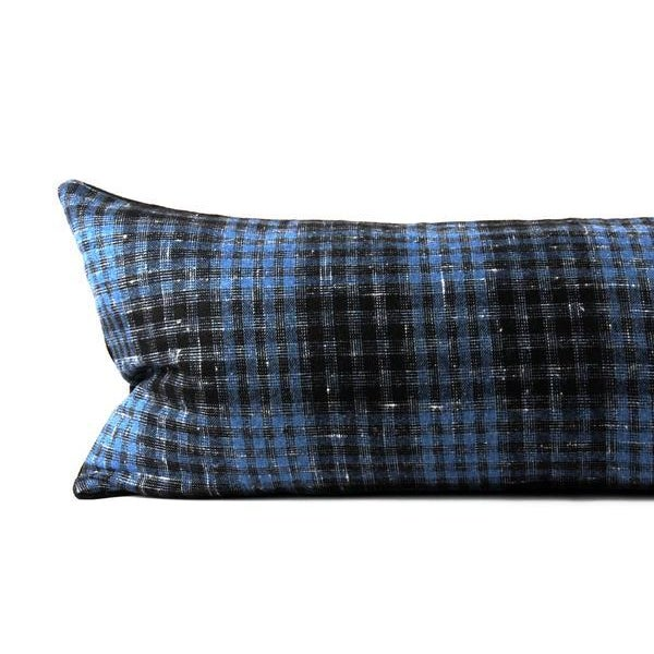 Hand crafted throw pillow featuring a vintage, plaid woolen textile. Beautiful rich blue with a large black plaid. Double...