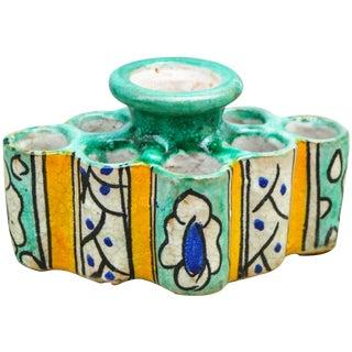 Ornate Motif Moorish Ceramic Inkwell For Sale