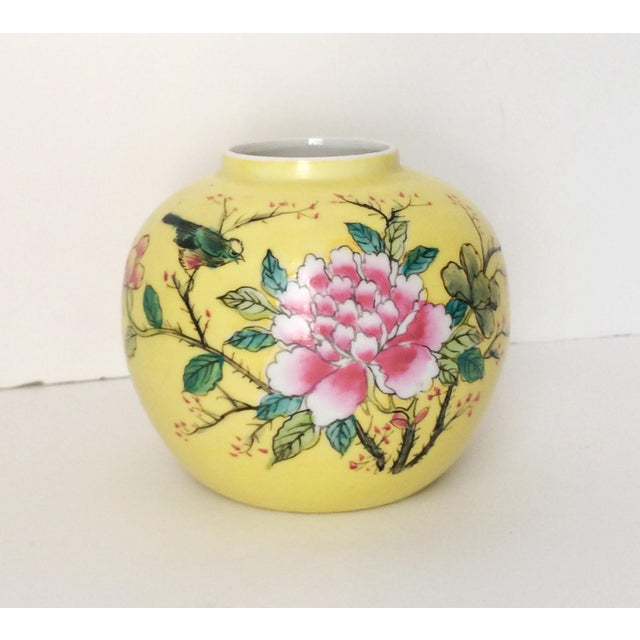 Japanese Porcelain Ware Yellow With Pink Flowering Branch and Bird Vase For Sale - Image 12 of 12