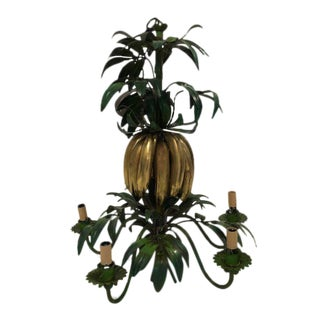 Italian Vintage Green Tole Leaf & Brass Banana Chandelier For Sale