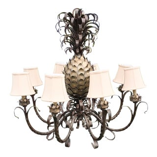 Monumental Vintage 8 Light Metal Silver Gold Currey & Co Style Pineapple Chandelier Light Fixture For Sale