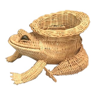 Wicker Frog Basket With Marble Eyes For Sale