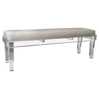 Showroom Sample - New Custom Designed Lucite Upholstered Long Bench by Iconic Snob Galeries For Sale