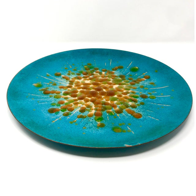 Mid-century modern enameled copper decorative plate by Mesick Studios. Handmade in California, this piece was produced as...