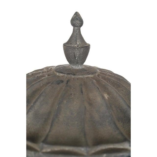 Antique Large Outdoor Lidded Metal Urn For Sale - Image 9 of 9