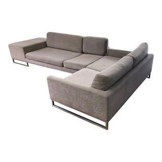 Ligne Roset Styled Sectional Modern Sofa With Chrome Base For Sale