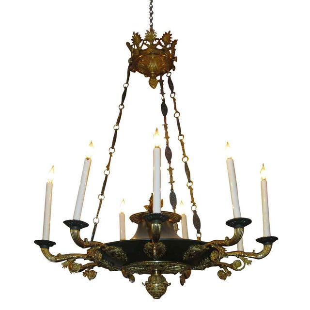 Metal Two-Toned Empire 10 Light Bronze Chandelier For Sale - Image 7 of 11