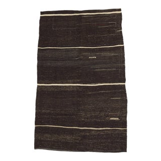 Vintage Turkish White Striped Black Goat Hair Kilim Rug - 5′2″ × 8′3″ For Sale