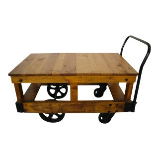 Vintage Honey Pine Nutting Factory Cart
