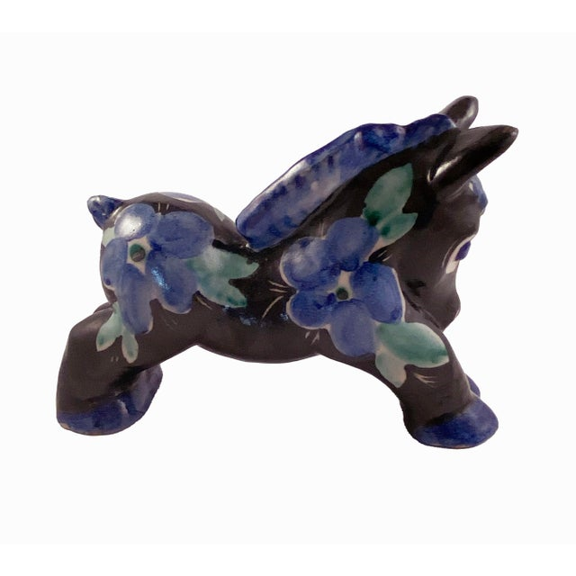 Italian Studio Art Pottery Donkey Blue Floral on Black For Sale - Image 3 of 8