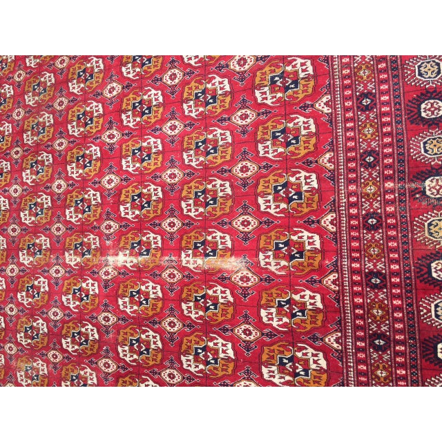 Antique Tribal Turkoman Bohkara Hand Knotted Wool Area Rug - 9′5″ × 12′8″ For Sale - Image 9 of 10