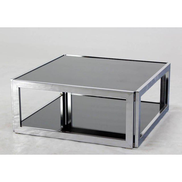 377dae3805ffe Mid-Century Modern Square Chrome   Smoked Glass Coffee Table For Sale -  Image 10