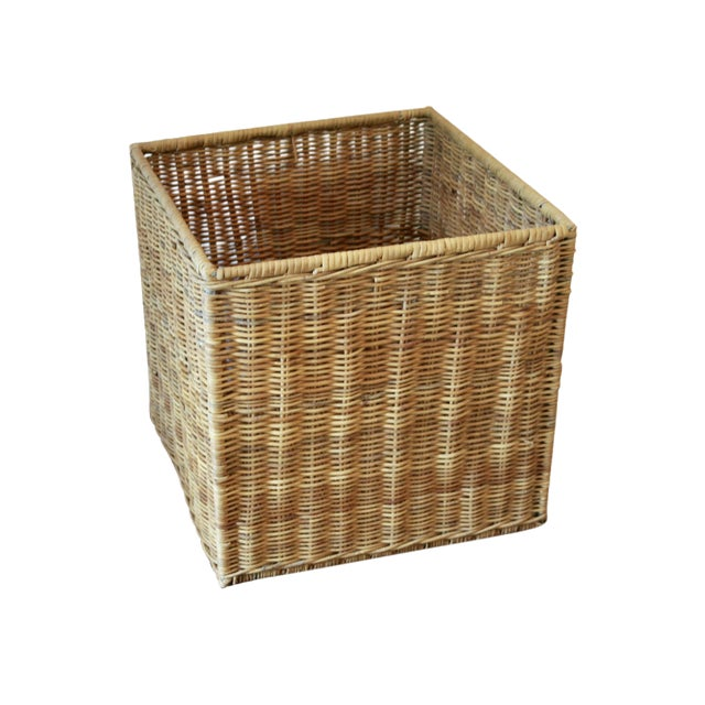 Modernist Wicker Cube Planter / Side Table For Sale