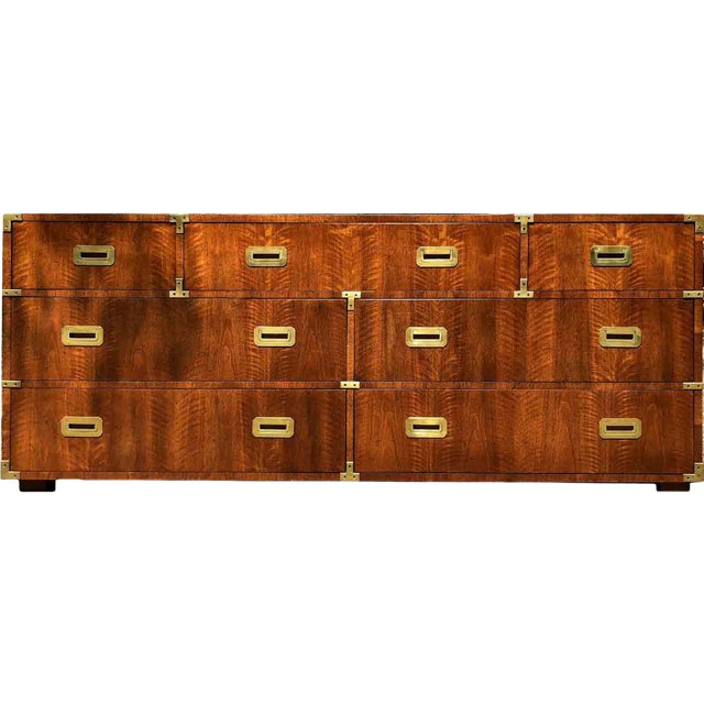 1970s Campaign 7 Drawer Credenza or Dresser by Henredon For Sale