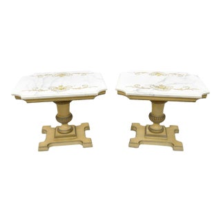 Vintage French Empire Neoclassical Style Marble Top Wood Side Tables - A Pair