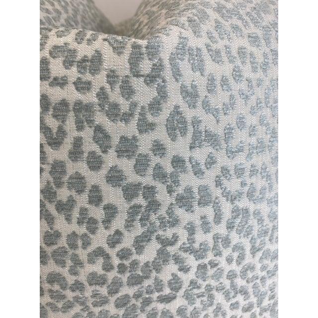 "Custom pair of 22"" pillows covered in Hutcherleigh"" in color calm a pale aqua mini leopard chenille fabric. These pillows..."