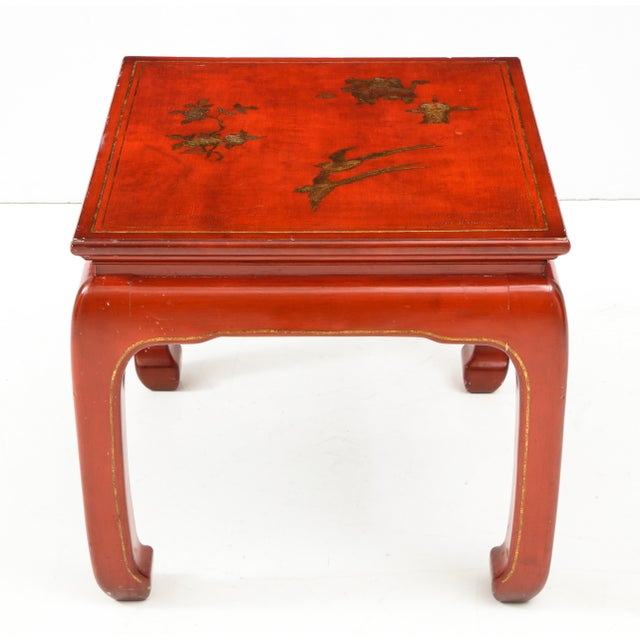 Mid 20th Century Chinoiserie Red Lacquered End Tables - a Pair For Sale - Image 5 of 10