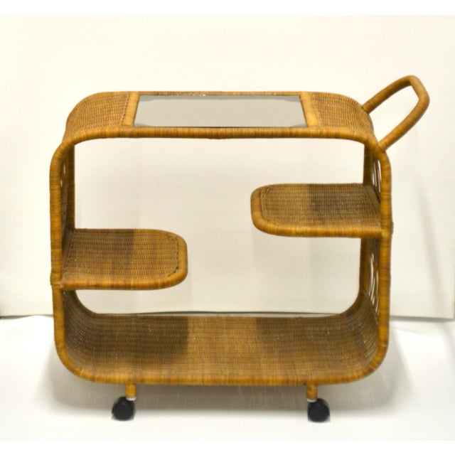 1960s 1960s Mid-Century Woven Rattan Bar Cart For Sale - Image 5 of 12