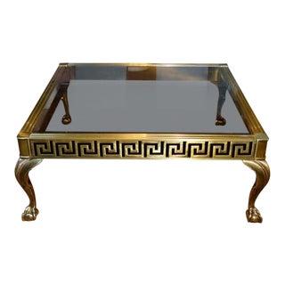 Hollywood Regency Mastercraft Brass Cocktail Table W/Greek Key For Sale