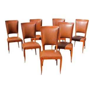 1940s Vintage Classic French Art Deco Solid Mahogany Dining Chairs - Set of 7 For Sale